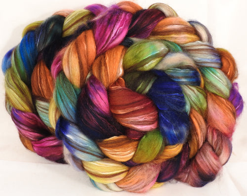 Hand dyed top for spinning -Crayon Box -(5.2 oz.) 18.5 mic merino/ camel/ brown alpaca/ mulberry silk/ (40/20/20/20)