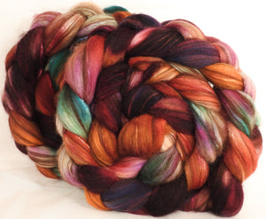 Hand dyed top for spinning -Pomander- ( 5.3 oz) 18.5 mic merino/ camel/ brown alpaca/ mulberry silk/ (40/20/20/20)