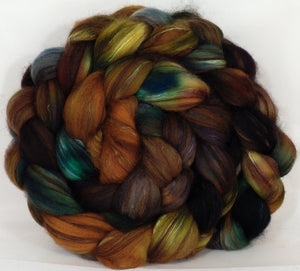 Hand dyed top for spinning -Fossil- (4.6 oz.) 18.5 mic merino/ camel/ brown alpaca/ mulberry silk/ (40/20/20/20) - Inglenook Fibers