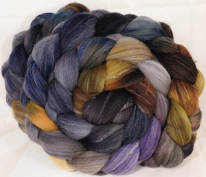 Hand dyed top for spinning -Cast Iron- (5.3 oz.) Targhee/silk/ bamboo ( 80/10/10) - Inglenook Fibers