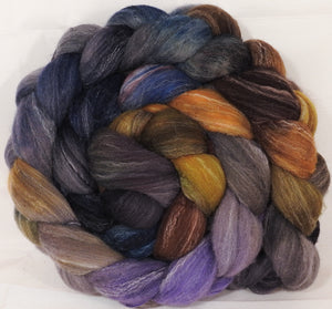 Hand dyed top for spinning -Cast Iron- (5.3 oz.) Targhee/silk/ bamboo ( 80/10/10)