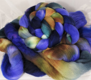 Hand dyed top for spinning -Blue Suede Shoes - (5.3 oz.) Organic polwarth - Inglenook Fibers