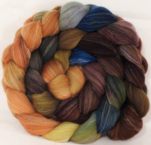 Hand dyed top for spinning -Into the Dalek- Targhee/silk/ bamboo ( 80/10/10) - Inglenook Fibers