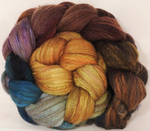 Batt in a Braid #7 -Into the Dalek -(5.5 oz.)Polwarth/ Manx / Mulberry silk/ Firestar (30/30/30/10) - Inglenook Fibers