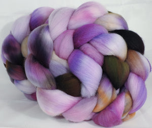 Hand dyed top for spinning -Wisteria- (5.2 oz.) Organic polwarth - Inglenook Fibers