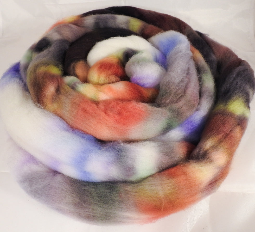 Hand dyed top for spinning -Hoarfrost -  Organic polwarth - Inglenook Fibers