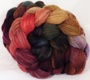 Batt in a Braid #7 -Poinsettia- Polwarth/ Manx / Mulberry silk/ Firestar (30/30/30/10) - Inglenook Fibers