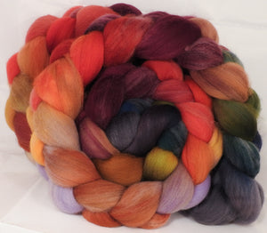 Hand dyed top for spinning -Poinsettia-Organic Polwarth - Inglenook Fibers