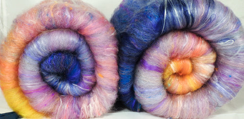 New Beginnings (3.6 oz.)- Roly-Poly Batts- 30% Nash Island fleece, merino, silk, rambouillet, bamboo, silk noil, angelina