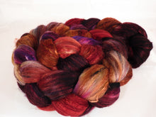 Batt in a Braid #39-SARI- 1 -(5.2 oz.)Falkland Merino/ Mulberry Silk / Sari Silk (50/25/25) - Inglenook Fibers
