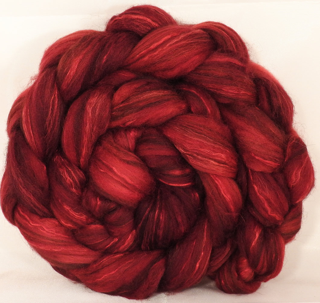 Batt in a Braid #40-Crimson- (4.7 oz.)YAK / Baby Alpaca / Mulberry silk/ Merino ( 18 mic)(30/30/30/10) - Inglenook Fibers