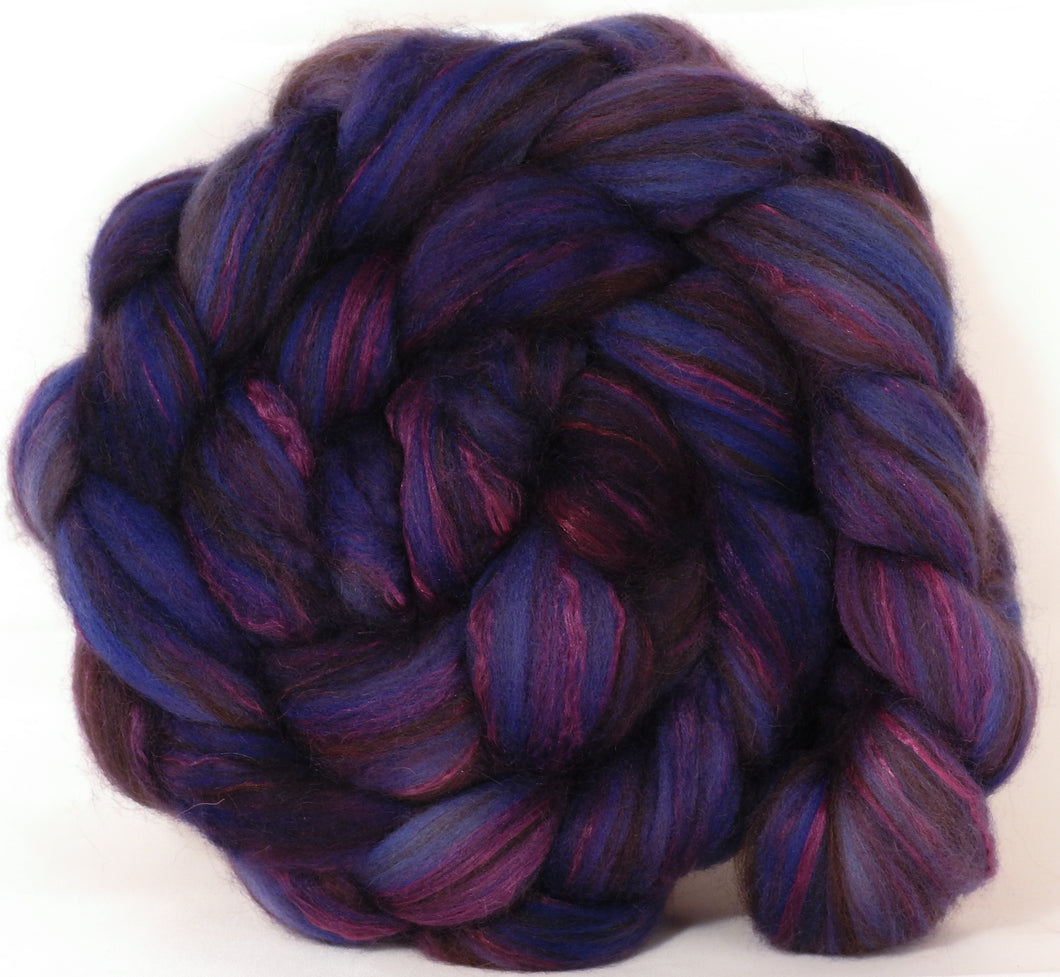 Hand dyed top for spinning -Damson Plum  (4.5 oz.) 18.5 mic merino/ camel/ brown alpaca/ mulberry silk/ (40/20/20/20) - Inglenook Fibers