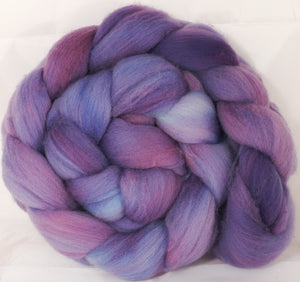 Hand dyed top for spinning -Periwinkle - (5 oz.) Organic polwarth - Inglenook Fibers