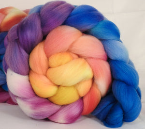 Hand dyed top for spinning - New Beginning - (5.2 oz.) Organic polwarth