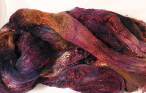 Batt in a Braid #39-SARI-18-(5.45 oz.)Falkland Merino/ Mulberry Silk / Sari Silk (50/25/25) - Inglenook Fibers