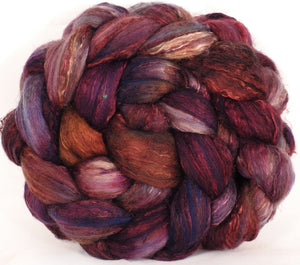 Batt in a Braid #39-SARI-18-(5.45 oz.)Falkland Merino/ Mulberry Silk / Sari Silk (50/25/25)
