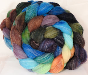 Hand dyed top for spinning - Selkie - Targhee/silk/ bamboo ( 80/10/10)