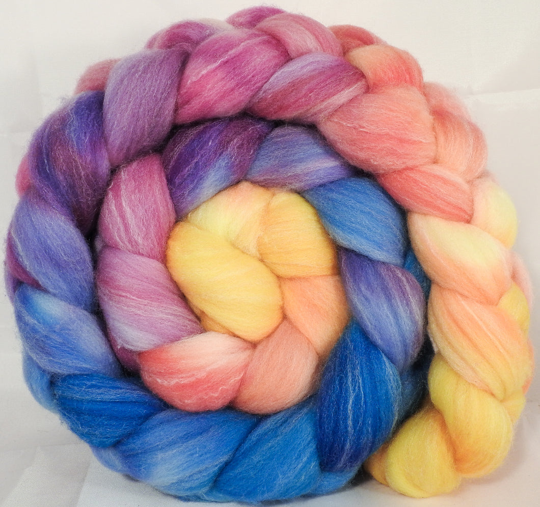 Hand dyed top for spinning - New Beginnings - Targhee/silk/ bamboo ( 80/10/10)