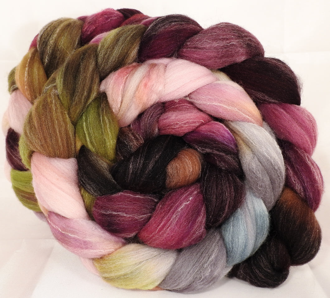 Hand dyed top for spinning - Beauty and the Beast - (5.2 oz.) Targhee/silk/ bamboo ( 80/10/10) - Inglenook Fibers