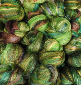Mossy - Sticklebatts- 30% Nash Island fleece, merino, rambouillet, silk, bamboo, silk noil (angelina in sparkle batts)