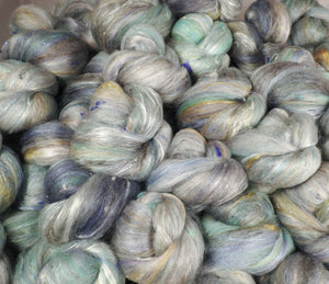 Looking Glass - Sticklebatts-( 4.1 oz. )30% Mohair Fleece, merino, silk, bamboo, silk noil, angelina - Inglenook Fibers