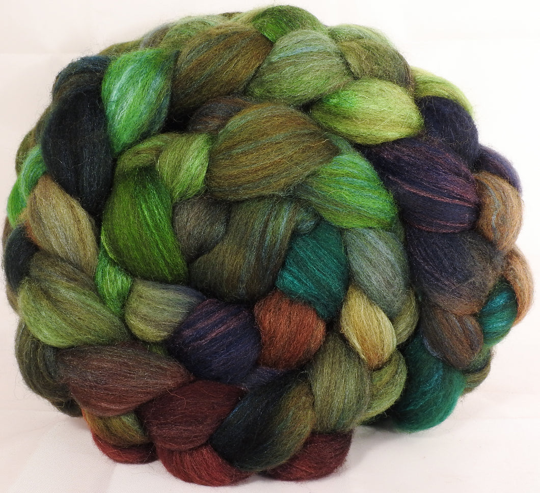 Mixed UK Bfl/ Tussah Silk  (75/25) - Mossy - (5.2 oz.) - Inglenook Fibers