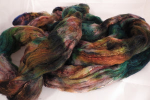 Batt in a Braid #39-SARI-21-(4.6 oz.)Falkland Merino/ Mulberry Silk / Sari Silk (50/25/25) - Inglenook Fibers