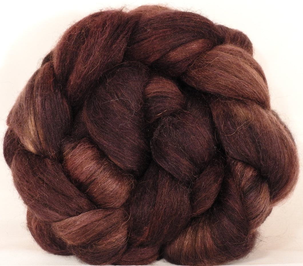 Batt in a Braid #40- Walnut - (4.7 oz) YAK / Baby Alpaca / Mulberry silk/ Merino (18 mic)(30/30/30/10) - Inglenook Fibers