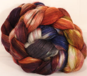 Batt in a Braid #40- Blood Orange - (4.65 oz) YAK / Baby Alpaca / Mulberry silk/ Merino (18 mic)(30/30/30/10)