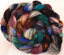 Hand dyed top for spinning -Argyle Socks- (5.1 oz) 18.5 mic merino/ camel/ brown alpaca/ mulberry silk/ (40/20/20/20)
