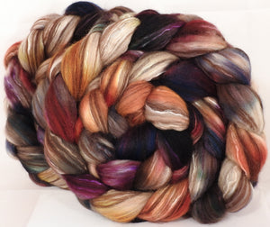 Hand dyed top for spinning -Scholarly- (5 oz) 18.5 mic merino/ camel/ brown alpaca/ mulberry silk/ (40/20/20/20)