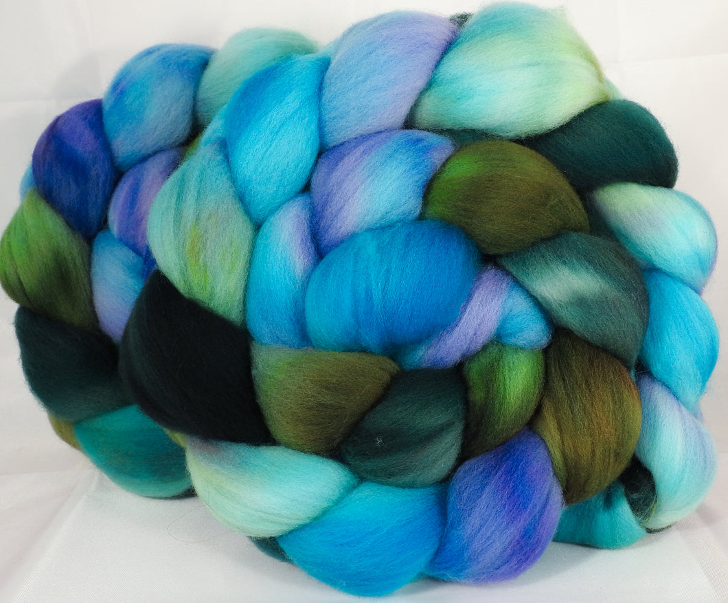Hand dyed top for spinning - Ebb tide - (5.4 oz.) Organic polwarth - Inglenook Fibers