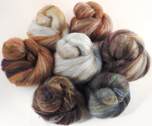 SPARKLE Sticklebatts - Owlery (5.1 oz) - 35% CVM/Rambo/Cotswold/Finn X and Corriedale Fleeces; merino, corriedale top, silk, bamboo, silk noil, ANGELINA