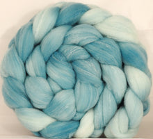 Hand dyed top for spinning - Dewdrop - (5.35 oz.) Targhee/silk/ bamboo ( 80/10/10) - Inglenook Fibers
