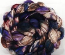 Hand dyed top for spinning - New Moon - (5.1 oz) 18.5 mic merino/ camel/ brown alpaca/ mulberry silk/ (40/20/20/20) - Inglenook Fibers