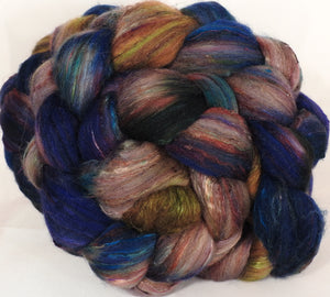 Batt in a Braid #39-SARI-28-(4.7 oz.)Falkland Merino/ Mulberry Silk / Sari Silk (50/25/25) - Inglenook Fibers
