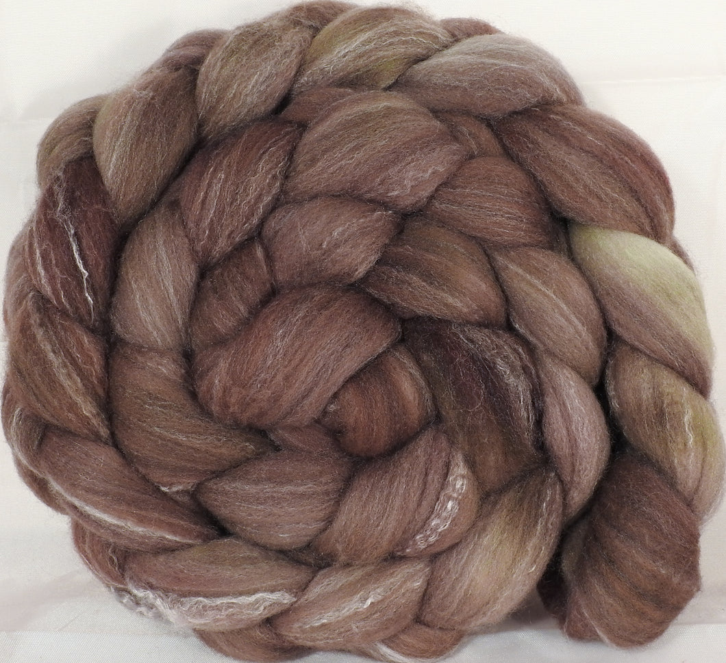 Hand dyed top for spinning - Rye - (5.4 oz.) Targhee/silk/ bamboo ( 80/10/10) - Inglenook Fibers