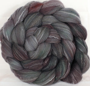 Hand dyed top for spinning - Asphalt - (5.4 oz.) Targhee/silk/ bamboo ( 80/10/10) - Inglenook Fibers