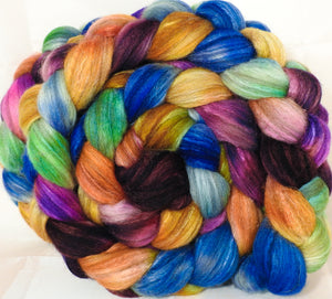 Mixed UK Bfl/ Tussah Silk  ( 75/25) - Crayon Box- 6.3 oz. - Inglenook Fibers