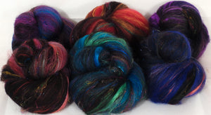 Orbit - Sticklebatts - merino, Black Welsh Mountain, rambouillet, alpaca, silk, bamboo, sari silk, angelina - Inglenook Fibers