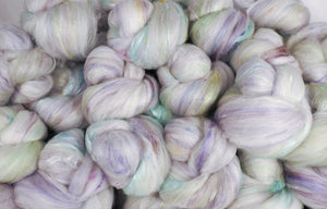 White Rabbit- Sticklebatts- ANGORA, Bond fleece , merino, silk, alpaca, bamboo,silk noil ( sparkle have angelina) - Inglenook Fibers