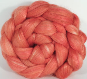 Hand-dyed Wensleydale/ mulberry silk roving ( 65/35) -Flamingo- ( 5.8 oz.) - Inglenook Fibers