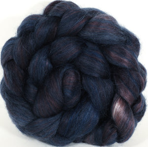 Hand-dyed wensleydale/ mulberry silk roving ( 65/35) -Licorice