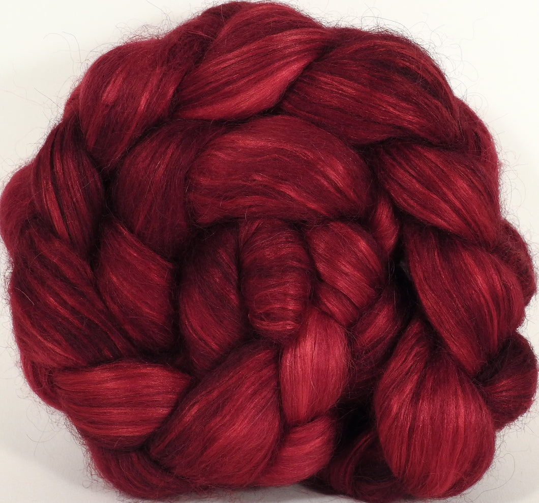 Hand-dyed wensleydale/ mulberry silk roving ( 65/35)-Crimson- ( 6 oz.)