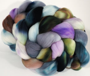 Hand dyed top for spinning -Oysters - (5.3 oz.) Organic polwarth - Inglenook Fibers