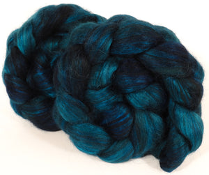 Hand-dyed wensleydale/ mulberry silk roving ( 65/35) -Maelstrom - Inglenook Fibers