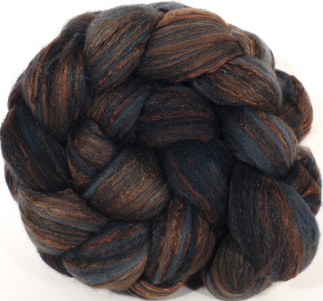Batt in a Braid #7- Soot -(5.8 oz.) Polwarth/ Manx / Mulberry silk/ Firestar (30/30/30/10) - Inglenook Fibers