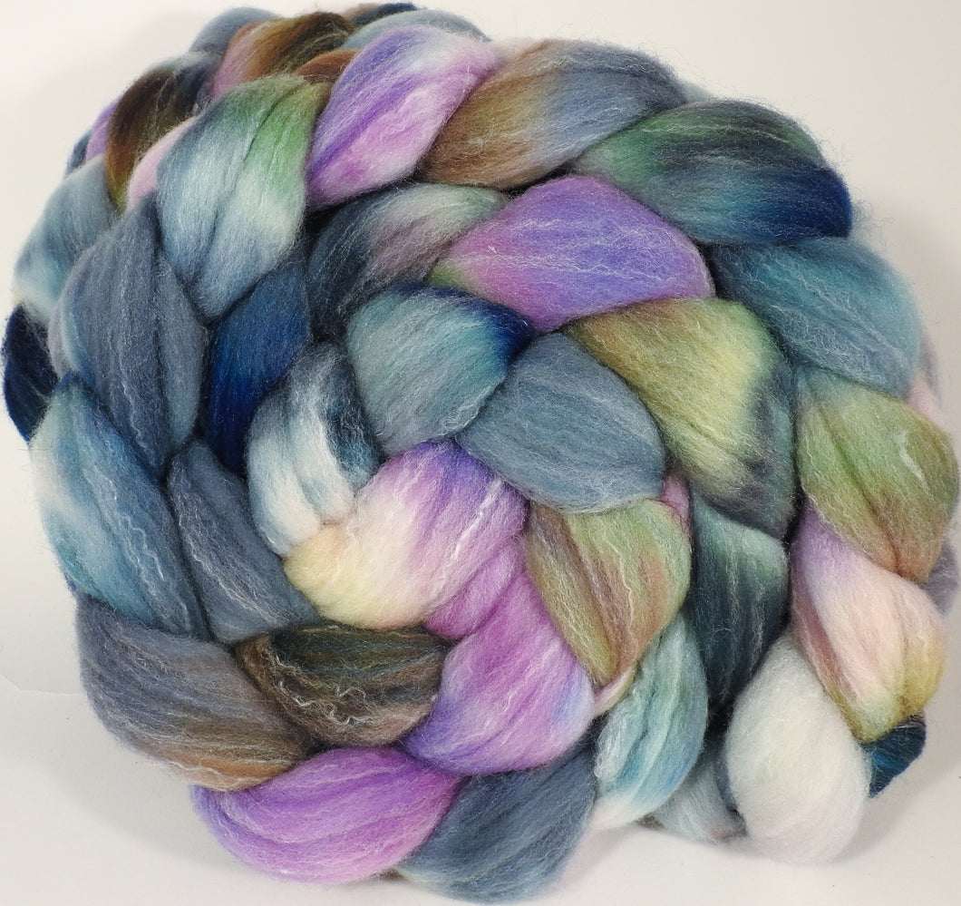 Hand dyed top for spinning -Oysters (5.4 oz.) Targhee/silk/ bamboo ( 80/10/10) - Inglenook Fibers