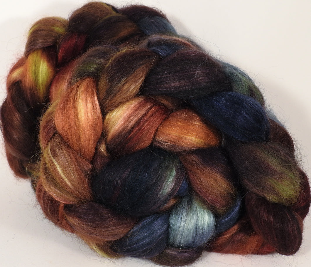 Hand-dyed wensleydale/ mulberry silk roving ( 65/35) -The Walrus- ( 5.35 oz.) - Inglenook Fibers