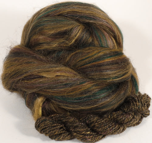 Pyrite - Custom Blended Top- Merino/Corriedale/Silk(Peduncle and Mulberry)/Bamboo/FLAX (25/25/25/15/10) - Inglenook Fibers